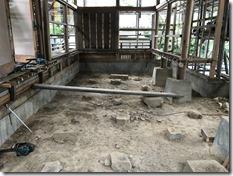 龍田大社神楽殿改修工事 解体工事開始 (2)