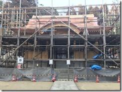 破磐神社舞殿重建工事 屋根工事 (1)